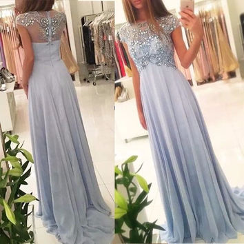 elegant light blue evening dresses 2017 short sleeve crystal beaded chiffon womens pageant dress formal prom gown vestido festa