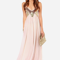 Peach Sequin Maxi Dress (Lulu's)