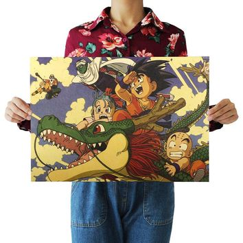 Vintage Classic Cartoon Anime Dragon Ball Poster Bar Kid's Room Home Decor Retro Kraft Paper Wall Sticker 51x35cm
