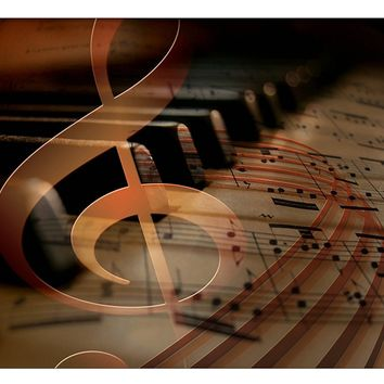 Music Notes Piano Picture on Canvas Hung on Copper Rod, Ready to Hang, Wall Art Décor