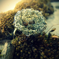Silver Wire Bird's Nest With Speckled Stone Eggs Woodland Ring - Size 7