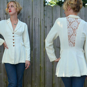 90s Rhythm Nation Sheer Ivory Lace Back Fit and Flare Jacket