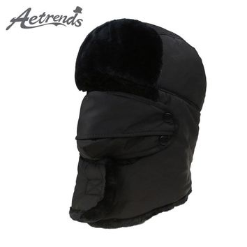 [AETRENDS] 2017 Men's or Women's Fur Bomber Hats Winter Russian Hat Outdoor Warm Thicker Caps with Ear Flaps and Mask Z-3877