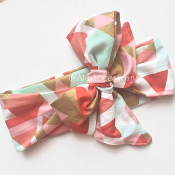 Golden Diamond Head wrap, Toddler Headwrap, Geometric, Coral Head wrap, Mint Headband, Baby Headband, Toddler Headband,