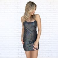 Iridescent Rainbow Shimmer Black Dress