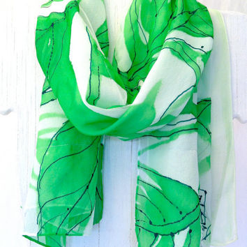 Hand Painted Reversible SIlk Scarf Floral by SilkCouturebyTakuyo