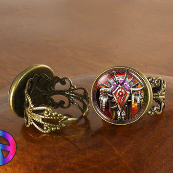 World of Warcraft WoW Horde Crest Game Womens Adjustable Ring Rings Jewelry Gift