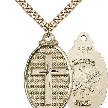 Men's 14K Gold Filled Cross National Guard Military Catholic Medal Necklace 617759954012