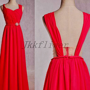 Long Watermelon Red Sheer Bridesmadi Dresses,Backless Wide Straps Prom Dresses,Long Homecoming Dresses