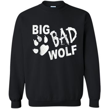 Big Bad Wolf Paw Distressed White Funny Novelty Printed Crewneck Pullover Sweatshirt