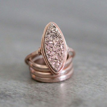 Marquis Druzy Ring - Gilded Rose Gold