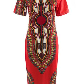 Streetstyle  Casual Round Neck Classical Tribal Printed Bodycon Dress