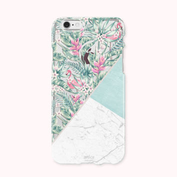 Clear iPhone 6 Case, iPhone 6s Case, iPhone 6 Plus Case, iPhone 6s plus Case, iPhone 5S Case, iPhone SE, Galaxy Case - Tropical Marble Mint