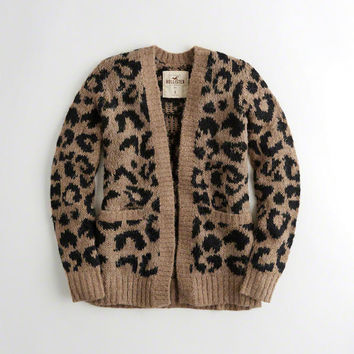Girls Leopard Fuzzy Knit Cardigan | Girls New Arrivals | HollisterCo.com