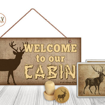 "Gift Set, 4 PC, Welcome To Our Cabin, Deer 5"" x 10"" Wood Sign, Two Drink Coasters, One Decorative Wine Stopper, Gift Package, Made To Order"