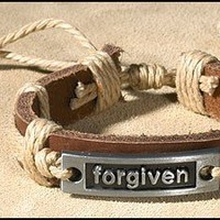 Kids Teen Forgiven Inspirational Bracelet Christian Religious Leather Bracelet