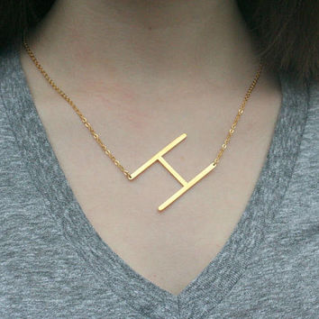 Sale Large Initial Necklace,Sideways Intial Necklace,Gold Initial Necklace ,Custom Letter Necklace,Alphabet Necklace