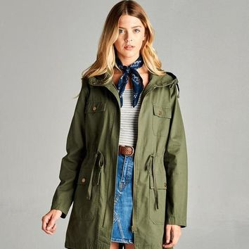 Plus Size Hooded Utility Jacket