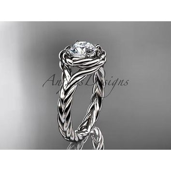 "Platinum twisted rope engagement ring with a ""Forever One"" Moissanite center stone RP8201"