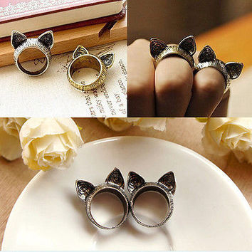 Hot Sale New Fashion Style Simple Retro Magic Wild Cute Cat  Ears Ring Gift POP