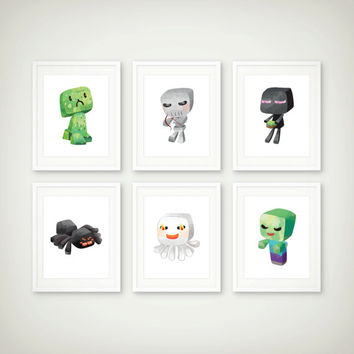 Mine Art Print Set - Wall Art - Kids Art - Video Game Decor - Set of 6 Prints