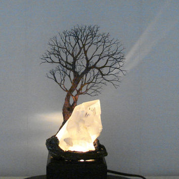 Wire Tree Of Life sculpture, natural Quartz Crystal, Family Tree lamp, green Aventurine, housewarming Springtime gift, crowsfeathers art 11""