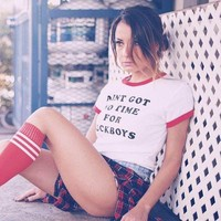 No Time For F***boys Ringer Tee by Fizzm