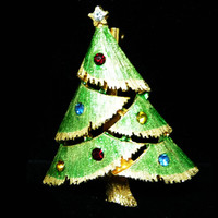 Vintage Christmas Tree Brooch - Enamel Light Green & Multi Colored Rhinestones - Holiday Pin