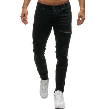 Men's Casual Skinny Stretch Ripped Hole Pencil Pants Denim Ripped Middle Waist Slim Fit Fashion Jeans 2018