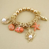 Coral Sea Life Stretch Bracelet