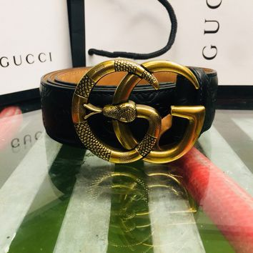 Authentic Gucci Signature Leather Belt With Gold Snake Double G Buckle
