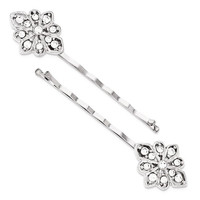 1928 Silver-Tone White Crystal Hairpin Set