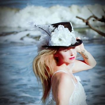 Stevie Nicks top hat, Gypsy wedding hat, romantic embellished tophat, true rebel clothing