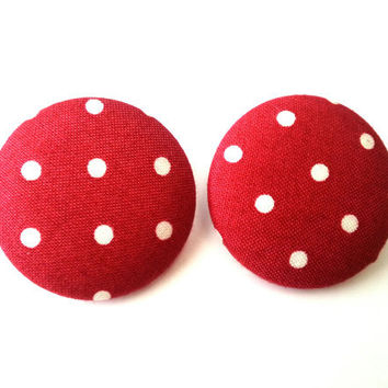 extra large rockabilly pin up girl red and white polka dot fabric button earrings