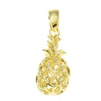 YELLOW GOLD ON STERLING SILVER 925 HAWAIIAN 3D PINEAPPLE CHARM PENDANT 10MM
