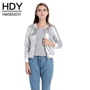 HDY Haoduoyi 2017 Fashion Coat Women O-Neck Long Sleeve Basic Outwear Coat Casual Zipper Fly Slim Bomber Jacket For Ladies