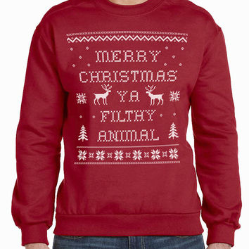 Merry Christmas Ya Filthy Animal - Adult Men's Sweatshirt - Sizes S-3XL Red - Ugly Sweater Contest