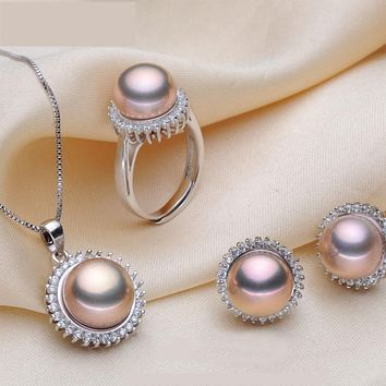 ZHIXI Pearl Jewelry Set Big Natural Freshwater Pearl Necklace Pendant Earrings Ring Fine Jewelry Engagement Gift For Women ST19