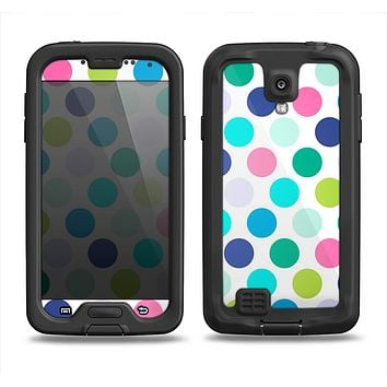 The Vibrant Colored Polka Dot V1 Samsung Galaxy S4 LifeProof Fre Case Skin Set