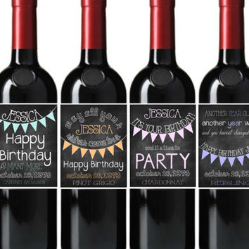 Happy birthday wine bottle labels from tipsydesigns on etsy