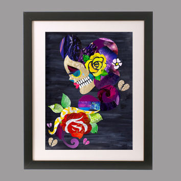 Tattoo art, Tattoo print, Sugar skull art, skull decor, tattoo design, wall art, mixed media collage art, graduation gift, giclee print