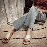 DCCK 1662 CHANNEL Fashion Comfortable Slippers Gold