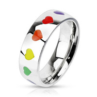 Spikes Stainless Steel Rainbow Heart Band Ring   Body Candy Body Jewelry