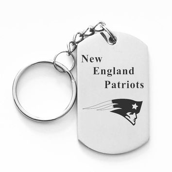 New England Patriots Football Team Dog Tag Key Chain Stainless Seel Keyring