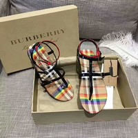 Burberry Raibow Stripe Women Slippers Sandals B-SJYGZS Brown Colorful Plaid