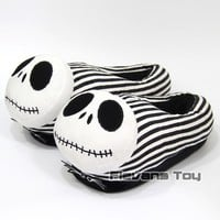 The Nightmare Before Christmas Jack Skellington Adult Plush Slippers Winter Indoor Warm Shoes Soft Stuffed Toys