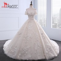 New 2017 Luxury Ball Gown Wedding Dresses Elegant Off the Shoulder 3D Floral Flowers Lace Bridal Gowns vestido de noiva Custom