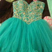 Shiny Fabulous Hunter Tulle Ball Gown Sweetheart Neckline Mini Homecoming/Prom Dress