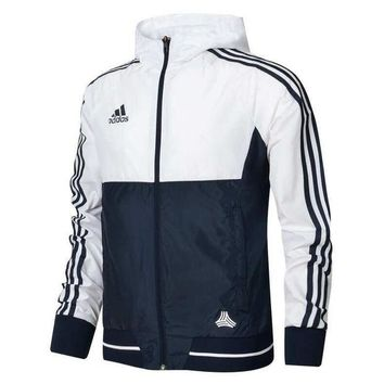 "Gotopfashion ""Adidas"" Men Women Fashion Print Zip Cardigan Jacket Coat Sweatshirt Hoodie Windbreaker White"