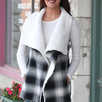 Checked Out Fur Lined Vest {White+Black}